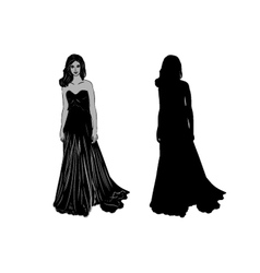 Silhouette of a girl in long dress vector image vector image