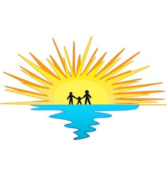 Sunset with Family Symbol vector image vector image