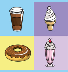Tasty coffee donut and ice cream vector