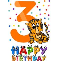 Third birthday cartoon design vector