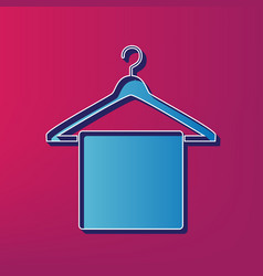 Towel on hanger sign blue 3d printed icon vector