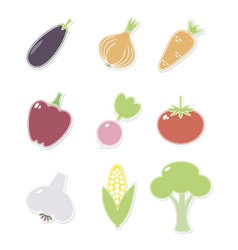 Vegetables iconsset vector image vector image