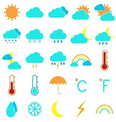Weather and climate color icons on white vector image vector image