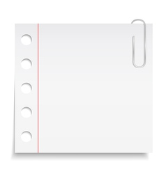 White paper note with clip vector image vector image