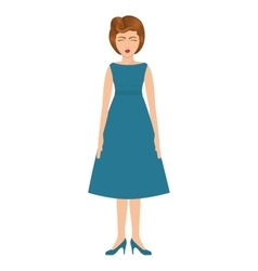 woman with blue dress and collected hair vector image vector image