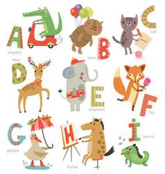 Zoo alphabet for children vector