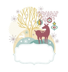 Greeting card christmas deer vector