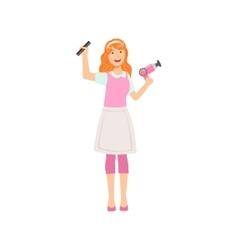 Woman hairdresser with hairdryer and comb part of vector