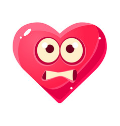 Scared emoji pink heart emotional facial vector
