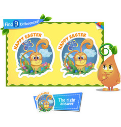 find 9 differences easter vector image