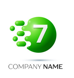 number seven splash logo green dots and bubbles vector image