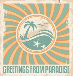 Vintage summer postcard template vector