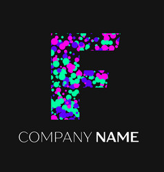 letter f logo with pink purple green particles vector image