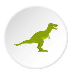 Green theropod dinosaur icon circle vector