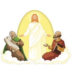 Transfiguration of jesus isolated on white vector