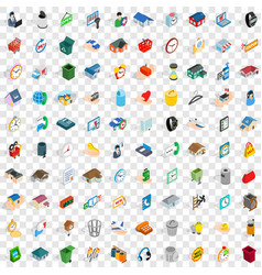 100 renovation icons set isometric 3d style vector
