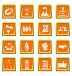 Human resource management icons set orange vector