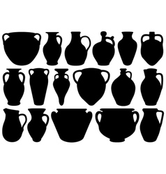 Set of different clay pottery vector image