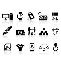 Pawn shop icons set vector
