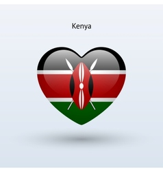 Love kenya symbol heart flag icon vector