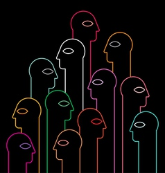 human heads neon silhouettes vector image