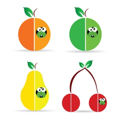 Worm in fruit color vector