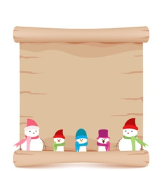 Snowman and parchment sign funny vector