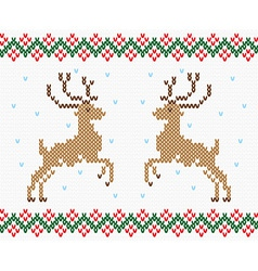 Christmas embroidery deer seamless texture vector image