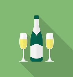 Bottle champagne and glasses of champagne flat vector