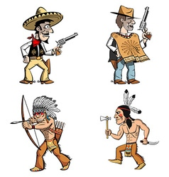 Cowboys and american indian vector