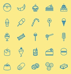 Dessert line icons on yellow background vector