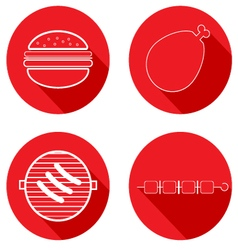 Icons meat products vector