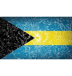 Flags bahamas with broken glass texture vector