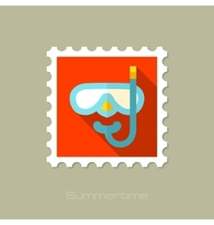 Diving mask flat stamp with long shadow vector