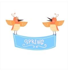 Birds holding spring banner vector