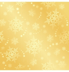 Golden snow flake winter pattern vector