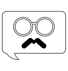 Classic frame glasses with mustache chat bubble vector
