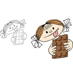 Girl with chocolate vector