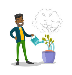 african businessman watering small growing tree vector image vector image