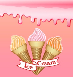 Background with the influx of strawberry cream vector