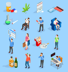 Bad habits people isometric icons vector