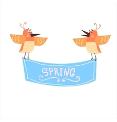Birds Holding Spring Banner vector image vector image