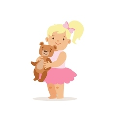 Blon Girl Standing WIth Teddy Bear Adorable vector image