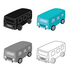 blue bus for the transportation of a small number vector image