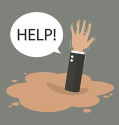 Businessman hand sinking in a puddle of quicksand vector
