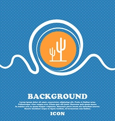 Cactus icon sign blue and white abstract vector