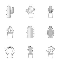 Cactus plant icon set outline style vector