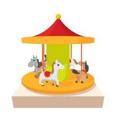 Carousel with horses cartoon icon vector