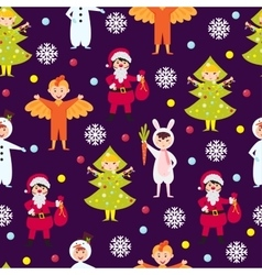 Christmas kids seamless pattern vector