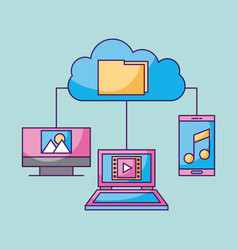 cloud computing file technology connected laptop vector image